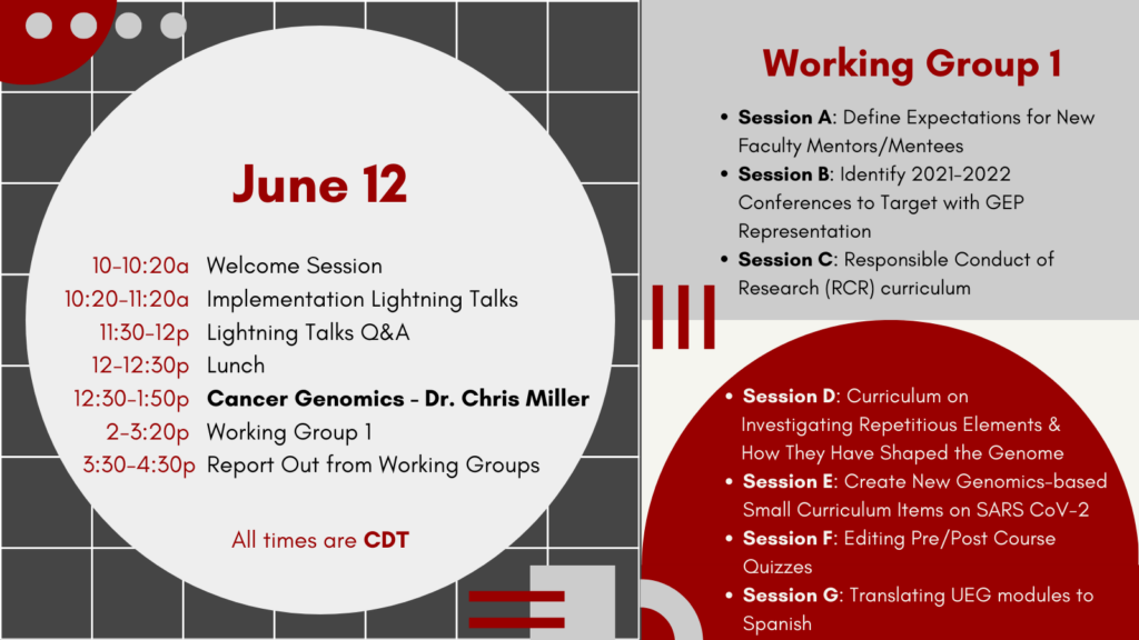 June 12 Alumni Workshop Day 1 Agenda 10-10:20a Welcome Session 10:20-11:20a Implementation Lightning Talks 11:30-12p Lightning Talks Q&A 12-12:30p Lunch 12:30-1:50p Cancer Genomics - Dr. Chris Miller 2-3:20p Working Group 1 3:30-4:30p Report Out from Working Groups Working Group 1 Session A: Define Expectations for New Faculty Mentors/Mentees Session B: Identify 2021-2022 Conferences to Target with GEP Representation Session C: Responsible Conduct of Research (RCR) curriculum Session D: Curriculum on Investigating Repetitious Elements & How They Have Shaped the Genome Session E: Create New Genomics-based Small Curriculum Items on SARS CoV-2 Session F: Editing Pre/Post Course Quizzes Session G: Translating UEG modules to Spanish