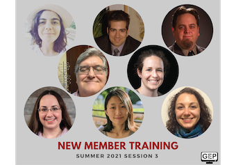 GEP New Member Training Summer 2021 Session 3: headshots of eight trainees